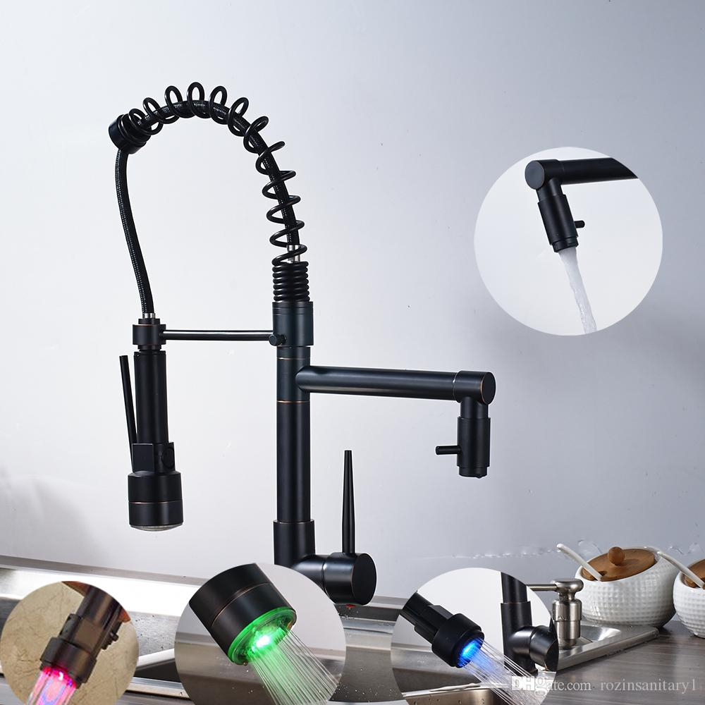 Led Spring Oil Rubbed Bronze Kitchen Faucet Swivel Double Spouts