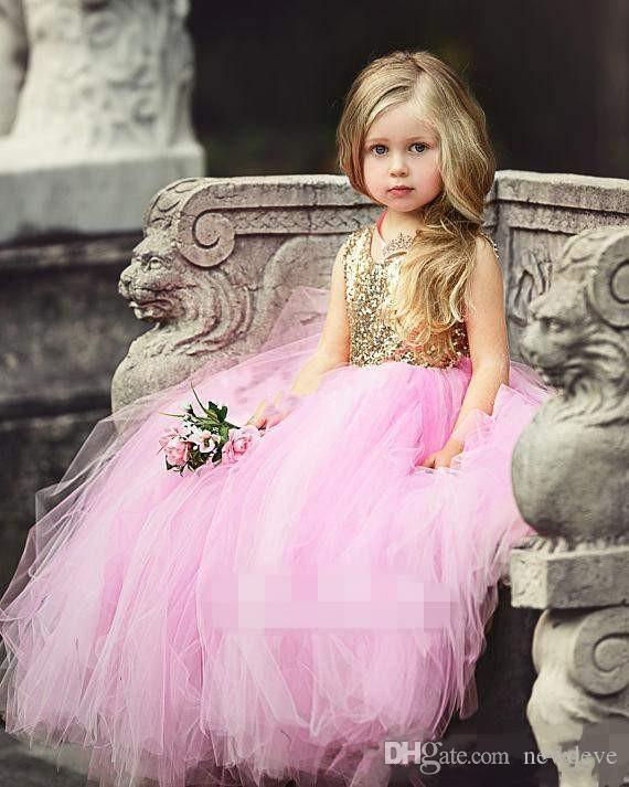 Blush Pink Tulle Flower Girls Dresses New Sparkly Gold Sequins Top Hollow Back First Communion Dresses Ball Gown Princess Dresses