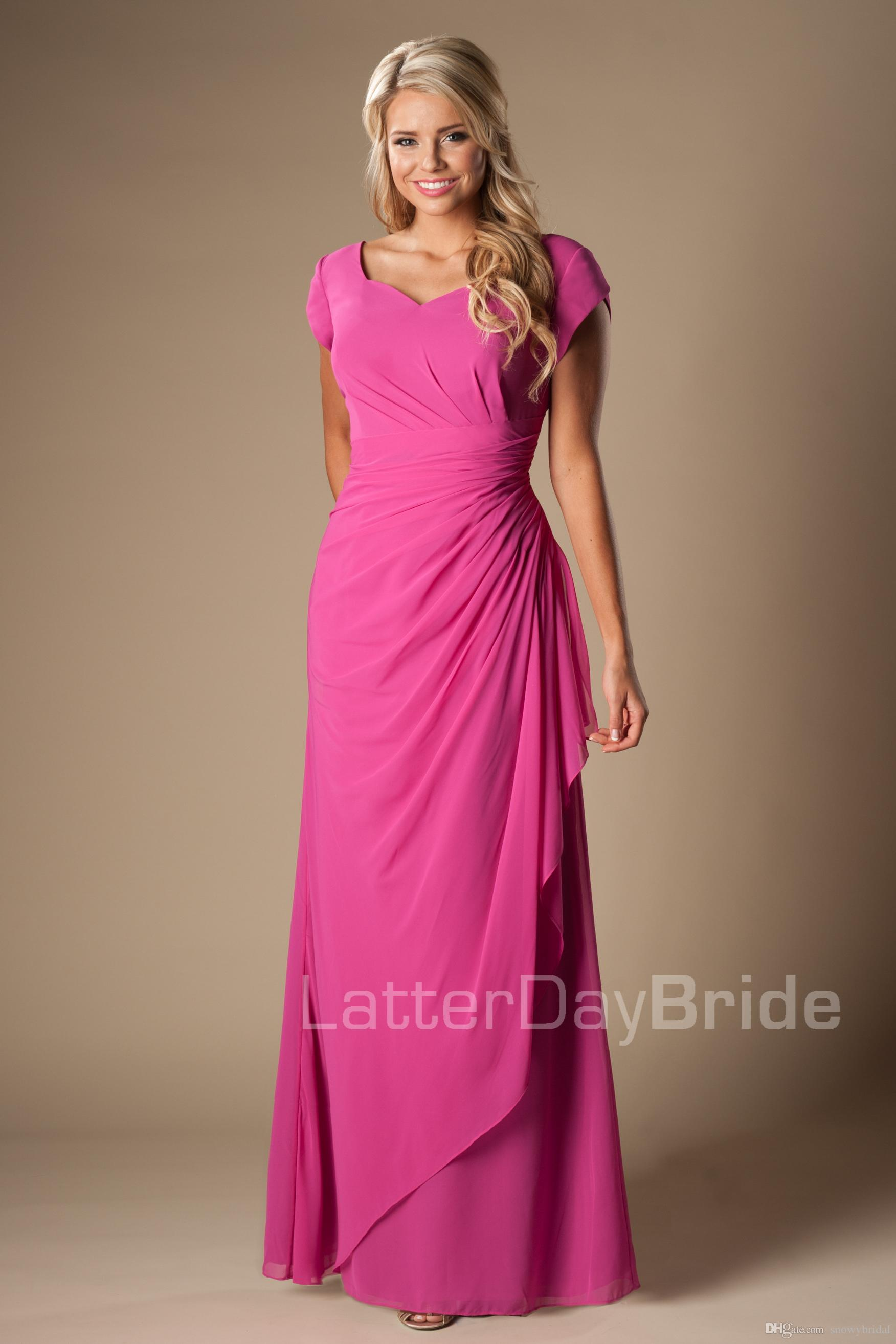 Formal Chiffon Modest Bridesmaid Dresses With Short Sleeves Long ...