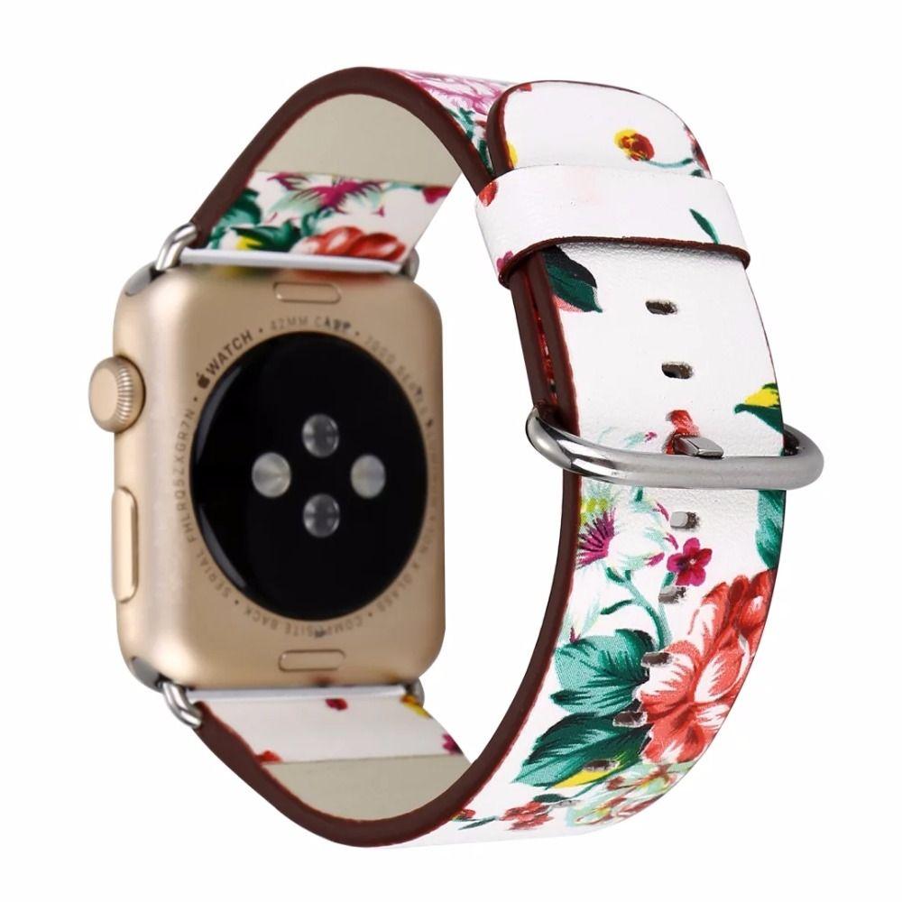 02572795d33 Compre Nacional Preto Branco Floral Impresso Pulseira De Relógio Pulseira  De Couro Para A Apple Watch Flor Projeto Relógio De Pulso Pulseira Para  Iwatch De ...
