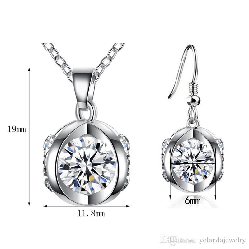 Hotsale femmes bijoux blancs plaqué or cz citrouille boucles d'oreilles collier serti pour filles femmes jolies bijoux