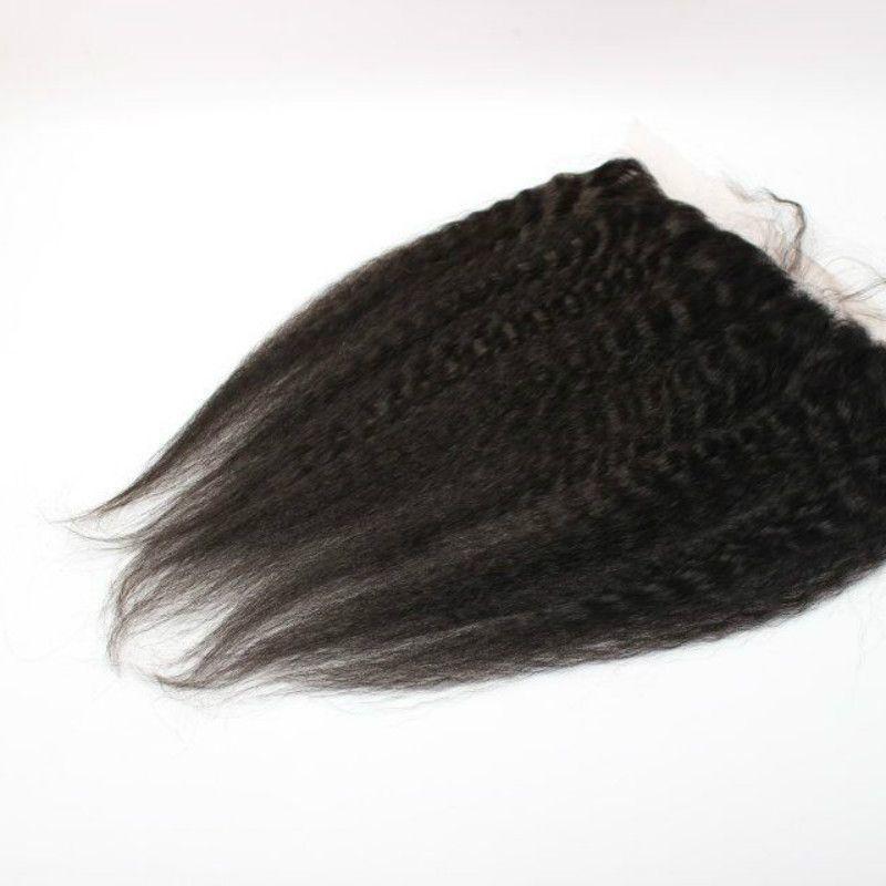 Mejor Grueso Yaki Lace Frontal Cierre 13x2 Brasileño Kinky Straight Lace Frontal Nudos blanqueados naturales