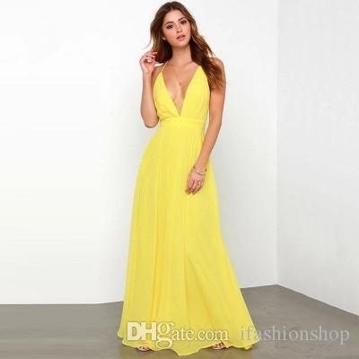 1dee3d019be Neon Yellow V Neck Sleeveless Maxi Dress Hot Summer Casual Dress Long Black  Dress Christmas Party Dresses From Ifashionshop
