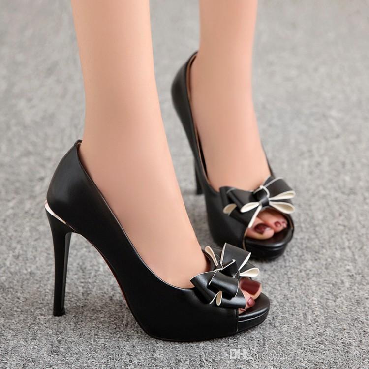 factory price PU Bowtie new style peep toes sexy high heel women dress shoe 193