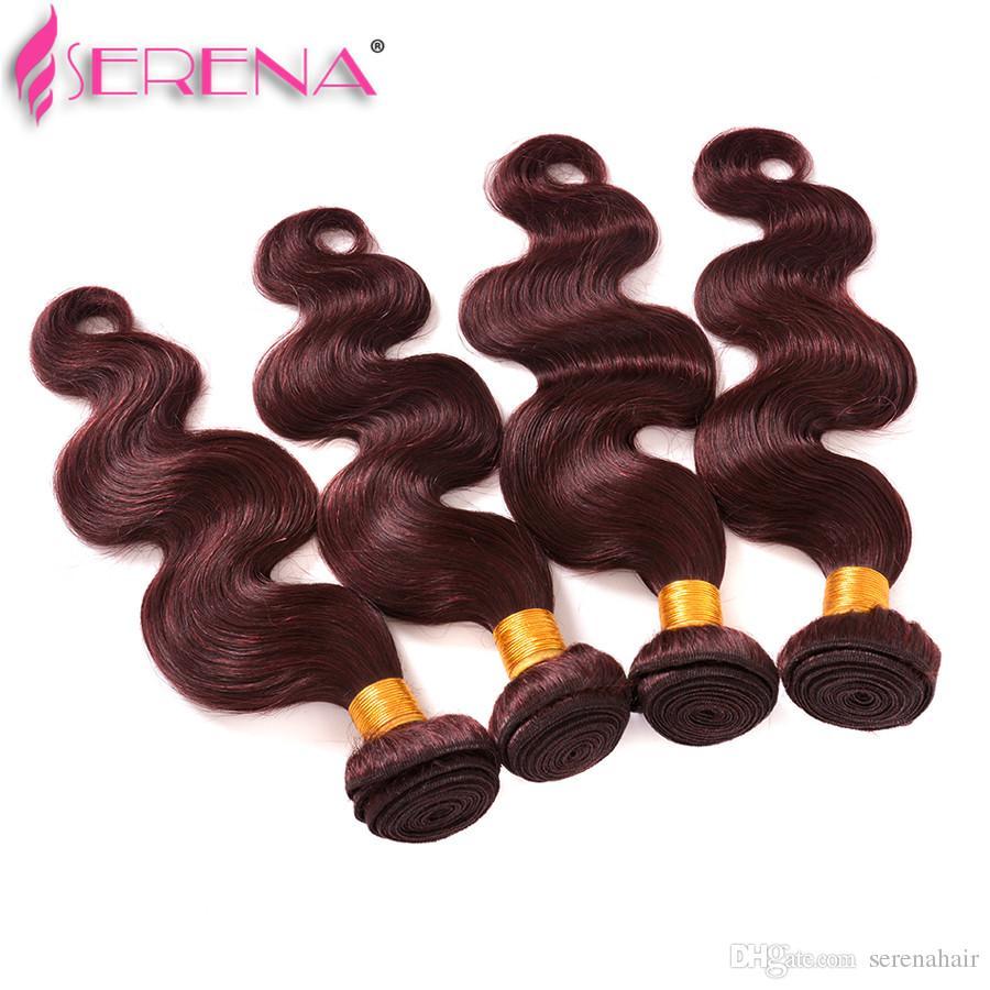 Burgundy Wine Red 99J Brazilian Body Wave Virgin Human Hair Weave Bundles Peruvian Malaysian Indian Cambodian Mongolian Hair Extensions