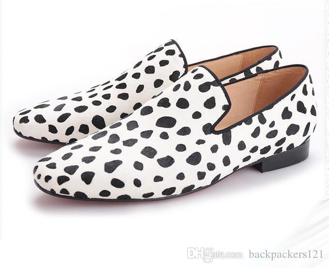 Nueva hecha a mano del partido y de la moda de los hombres de novia cebra zapato casual zapatos de cuero de los hombres del diseño de crin de caballo y apartamentos de los hombres en