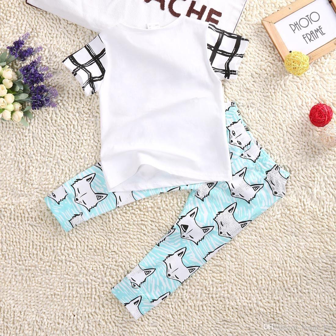 XO Algodón Orgánico Niño Niños Bebés Ropa Tops Camisetas Flechas Fox Light Blue Pantalones Trajes Set 1-5T Ropa para niños Producto al por mayor