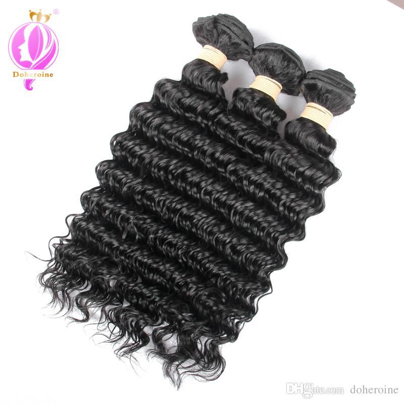 Brazilian Deep Wave Human Hair With Lace Closure Unprocessed Deep Wave Bundles With Lace Closure Hair Weft With Lace Closure