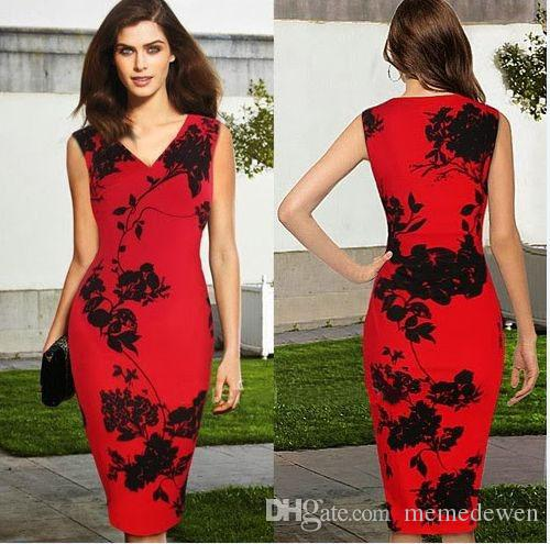 2017 Summer New Style Two Color Plus Size V-neck Sleeveless Blended Pencil Dress Flora Ldress Sexy Slim Career Office Dress XZ-025