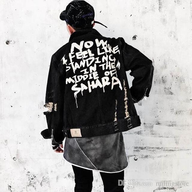 Autunno Uomo Graffiti Giacche di jeans Hip Hop Punk gioventù Uomo Vintage Frayed Hole Nero moto Zippers Cowboy jacket Coat