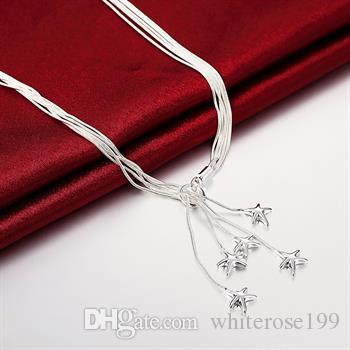 Toptan Satış - Perakende düşük fiyat Noel hediyesi 925 gümüş moda Takı ücretsiz gönderim Kolye yN091