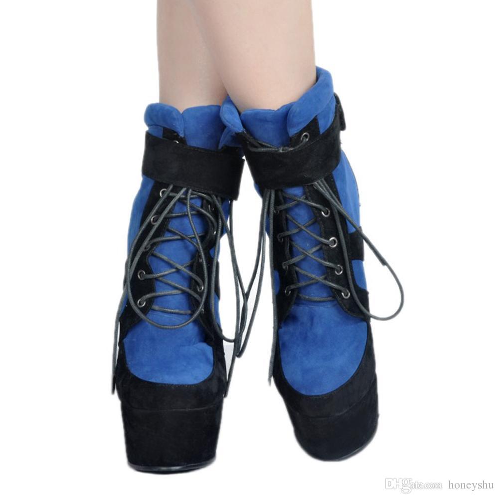 Kolnoo Womens Handmade Wadge Heel Kid-camurça Ankle Boots Lace-up Patchwork Partido Moda Sapatos de Inverno Preto XD394