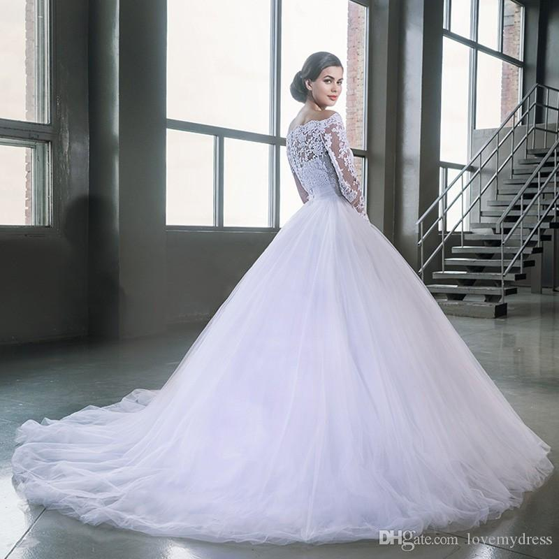 Chaple Train Wedding Gown Long Sleeve Off Shoulder Neck Lace Formal Bridal Gowns Cheap Price Elegant Design Covered Bottons Iullsion Chiffon Dress