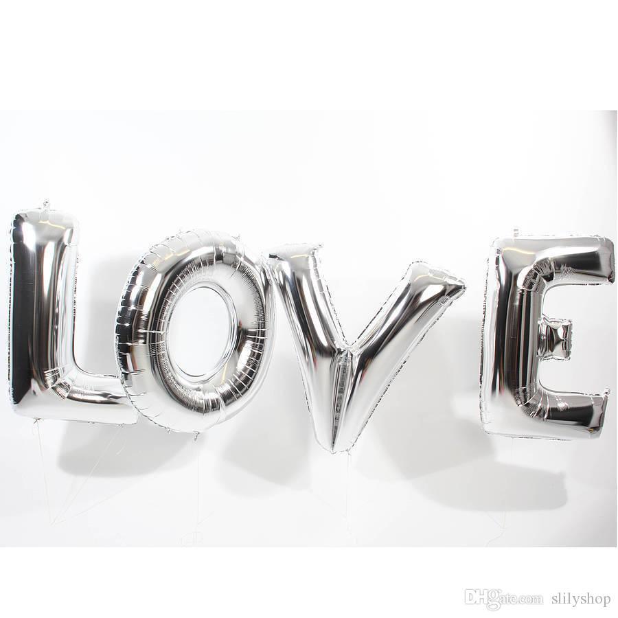 16/40 polegadas balões de folha de ouro, prata AMOR alumínio grande balão de hélio partido letras decoração de casamento esferas de ar fontes do partido