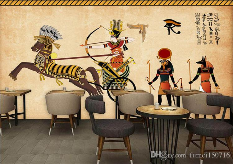 3d Cubic European Retro Art Egyptian Theme Bar Cafe Restaurant Large Wallpaper Living Room Nature Desktop