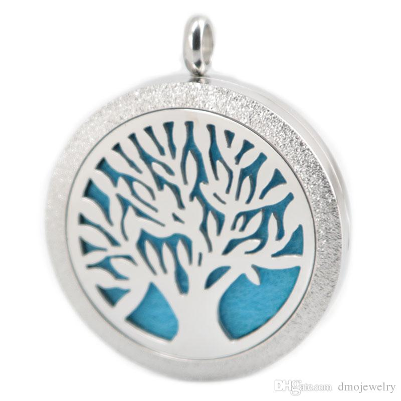 Matt Tree of Life Stainless Steel Pendants Necklace Aroma 30mm Locket Essential Diffuser Oils Lockets Free 50pcs Felt Pads As Gift