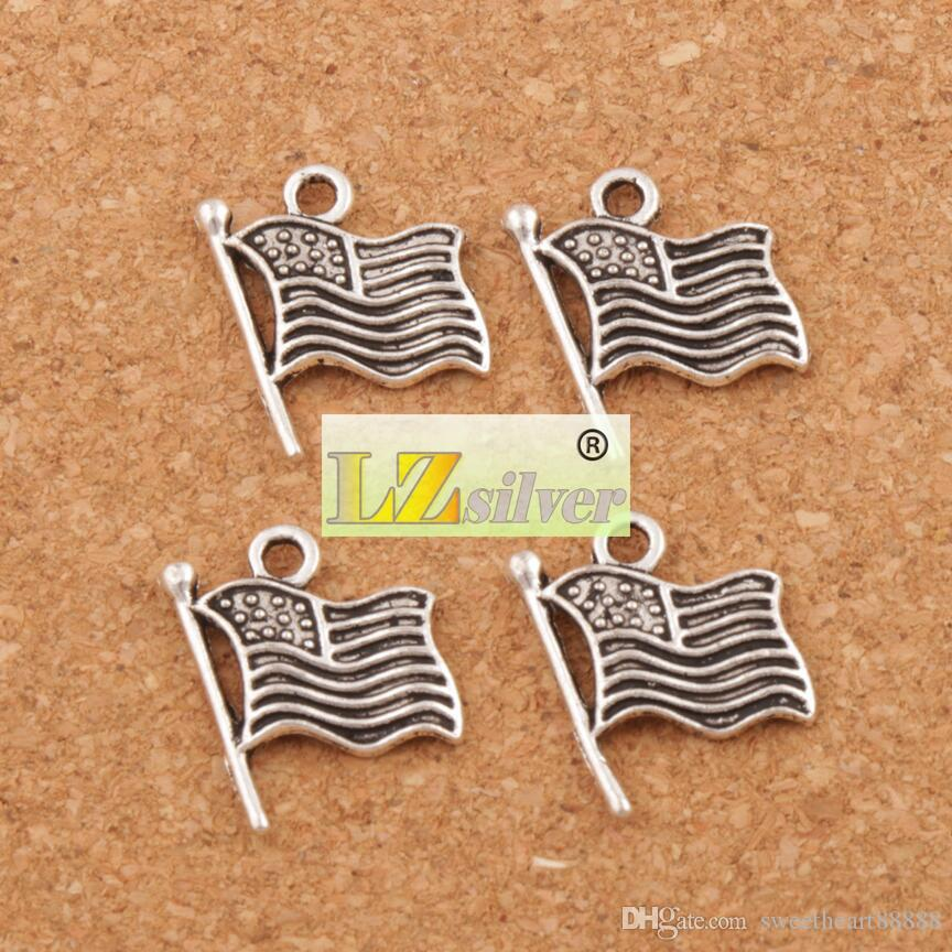 USA Flags Charms Pendants 17.9x14.5mm Antique Silver Jewelry DIY L299 Hot sell