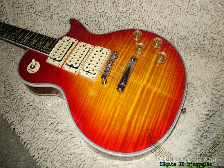 Cherry Flame Top Ace Electric Guitar Ebony Fingerboard OEM Musical instruments