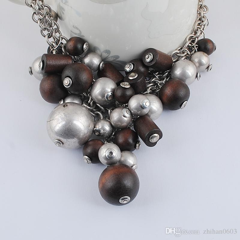 Charm European and American Fashion Accessories Exaggerated Jewelry Retro Style Wood CCB Grape Bead Necklace Female Ornaments