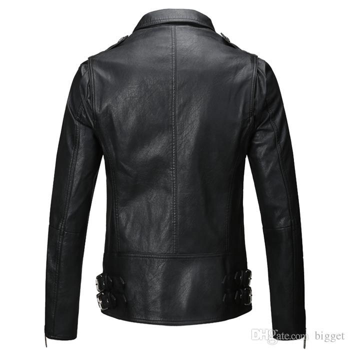 Herren PU Lederjacke Mode Marke Design Casual Slim Biker Motorrad Veste De Cuir Pour Homme