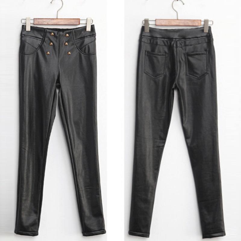 Moda Faux Deri Pantolon Seksi Sıska Kalem Pantolon Yüksek Bel Kadın Pantolon 2017 Elastik Bel Kadın Pantolon