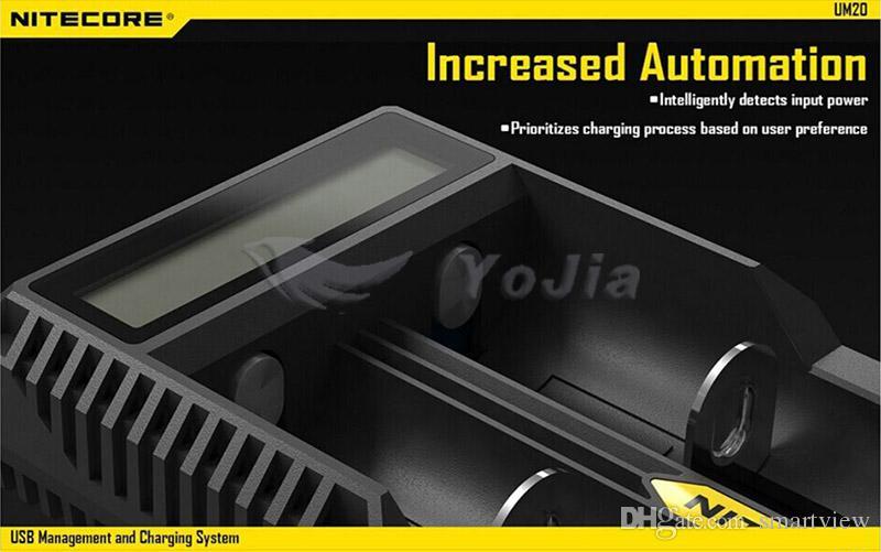 정품 Nitecore UM20 디지털 스마트 USB 충전기 18650 17650 17670 RCR123A 16340 14500 D2