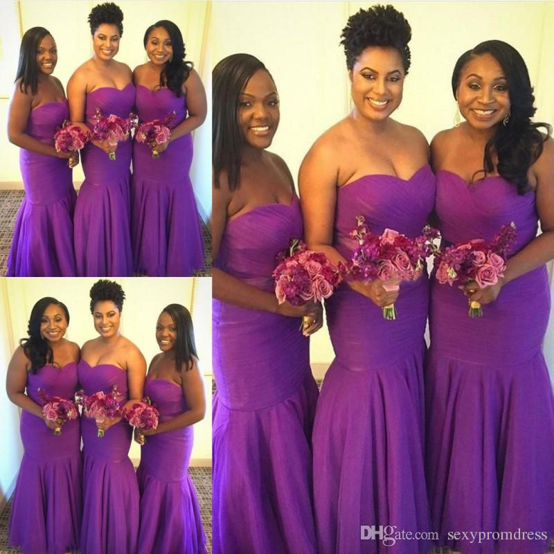 Purple Mermaid Long Bridesmaid Dresses 2019 Sweetheart Ruffles Plus ...