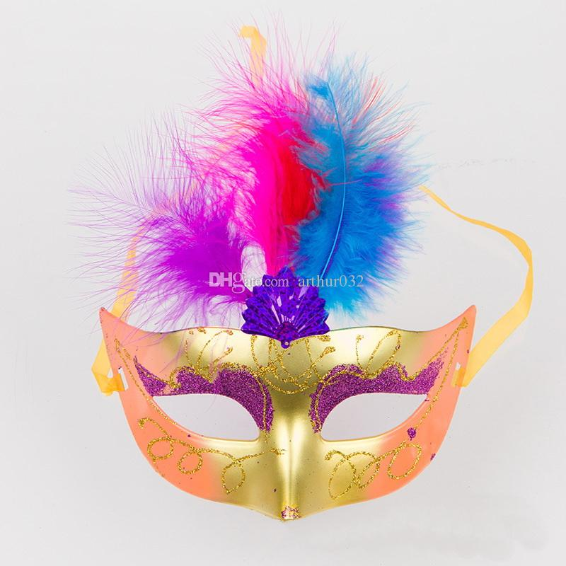 Cute Lovely Mini LED Feather Mask Sexy Halloween Decoration Venetian Masquerade Party Flower Beads Princess Lady Women Girl Kid Gift Favors