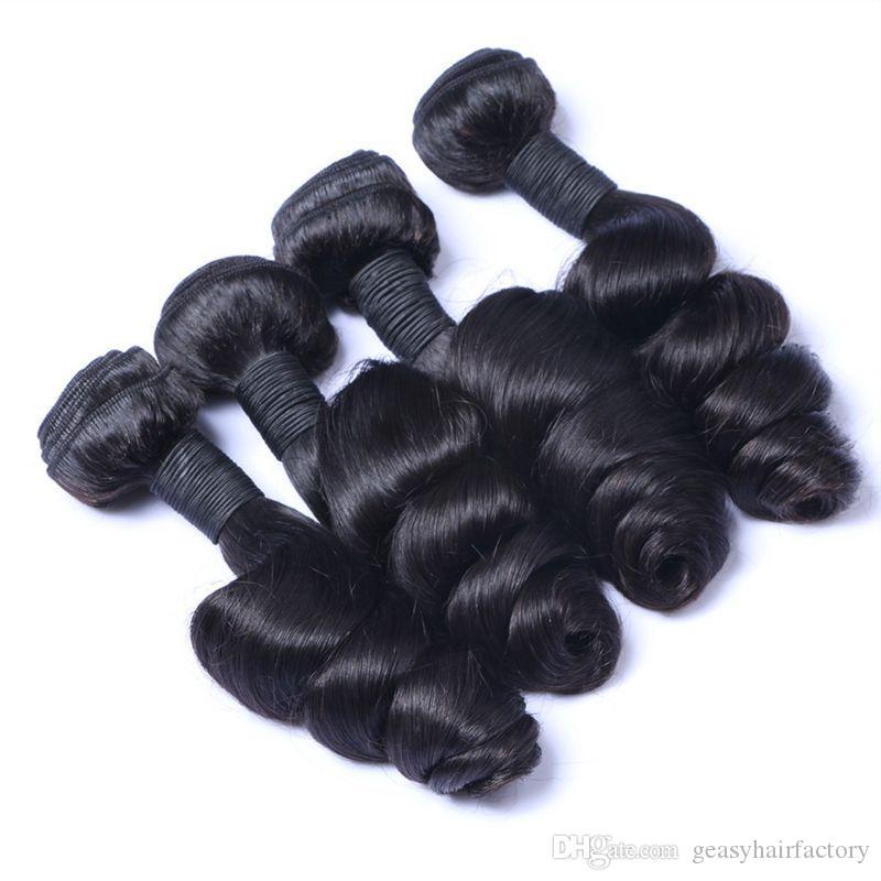 13x6 Peruvian Loose Wave Lace Frontal Closure With 4 Bundles Natural Black Peruvian Human Hair With Closure LaurieJ Hair