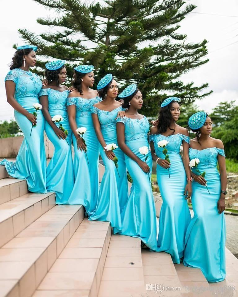 2019 Turquoise Robes De Demoiselle D'honneur Sud Africaines Dentelle Corsage Dos Nu Cap Manches Cap Manches Dos Nu Maid of the Honor Robes