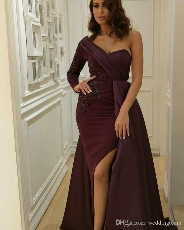 Elegante Burgunder Arabisch Kleider Abendgarderobe One Shoulder Appliques Split Side Formal Dress Sleeves Bodenlangen Lange Abendkleider