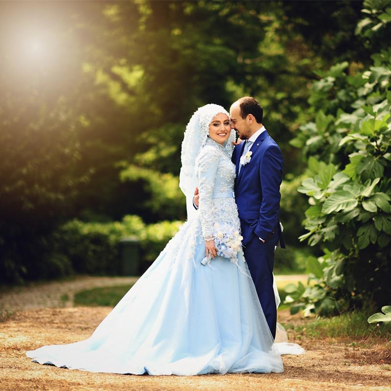 Discount Light Blue Islamic Bridal Gowns Custom Applique Feather ...