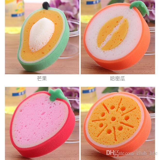 Fruit type sponge dishclout bowl microfiber cleaning cloth waffle weave kitchen towels dish washing cooking tools