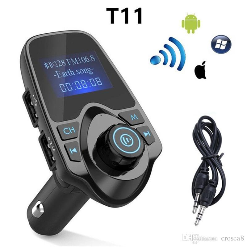 t11 car mp3 player lcd display wireless bluetooth transmitter fmt11 car mp3 player lcd display wireless bluetooth transmitter fm modulator handsfree car kit a2dp 5v 2 1a usb charger for iphone with box car radio