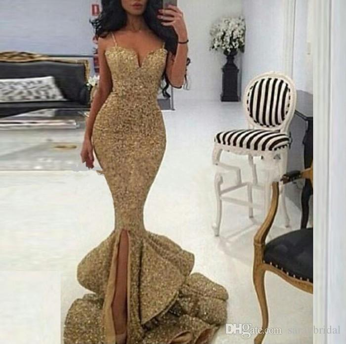 Gold Spaghetti Straps Draped Ruffles Formal Evening Dress Sweetheart Sequined Mermaid Prom Dresses celebrity African Gowns