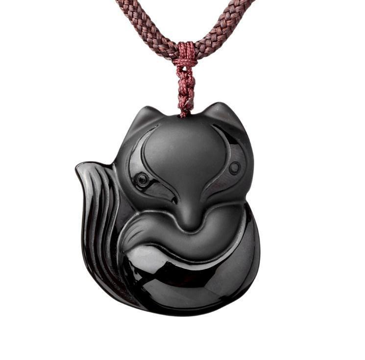 Hand carved natural Obsidian stone fox good luck pendant necklace