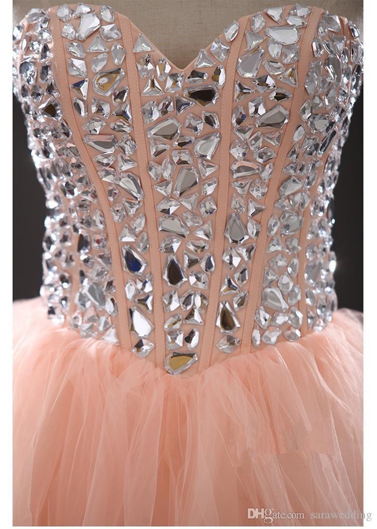 Encantador abalorios tul vestido de fiesta corto vestido de fiesta 2018 longitud de la rodilla vestido de fiesta Envío rápido