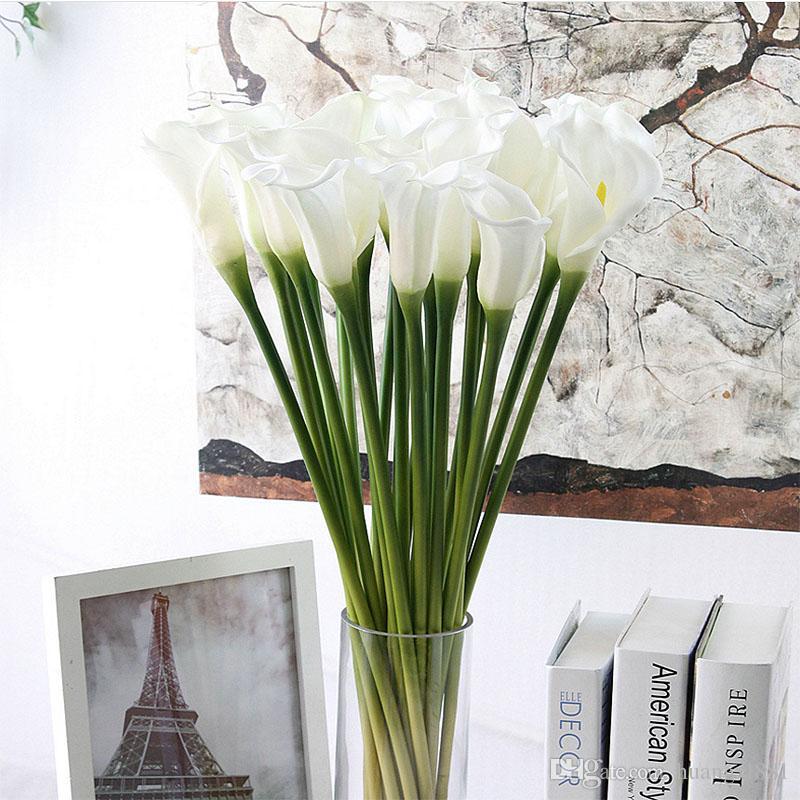 Dekoratif Sahte Çiçek Yapay Cala Lili Gerçek Dokunmatik Gelin Buketi Ev Düğün Dekoratif Çiçek 4 Renk Mix