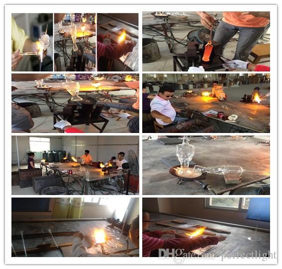 2017 neue Ankunfts-rustikale Eisen-Leuchter-freies Verschiffen Blume Bunt 100% geblasenem Glas Decke Küche