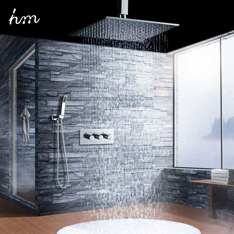 Best Hm 10u0027u0027 Thermostat Shower Set Wall Mounted Brass Luxury Shower Faucets  Kit Chromed Diverter Air 1 Jet Shower Head Saving Water 170305# Under  $766.94 ...
