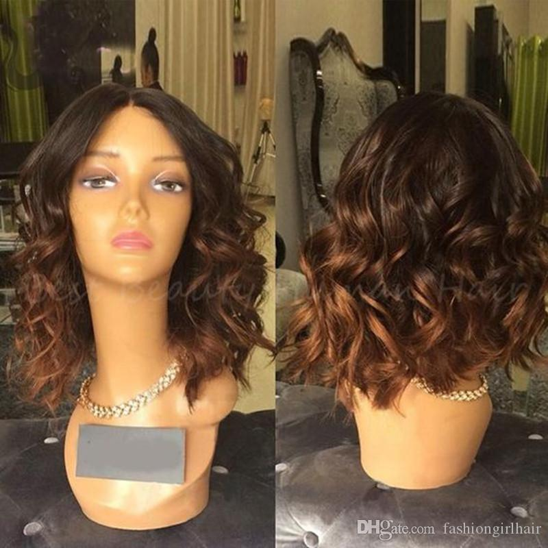 Ombre brown Synthetic Lace Front Wig Short Bob wavy Wigs 2Tone Black/brown Ombre Glueless Lace Front Wigs Heat Resistant Fiber