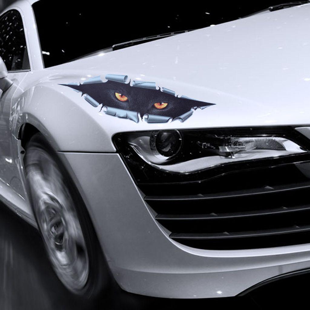 10 Pz / lotto Cool 3D Car Styling Funny Cat Eyes Sbirciare Sticker Car impermeabile Peeking Monster Accessori Auto