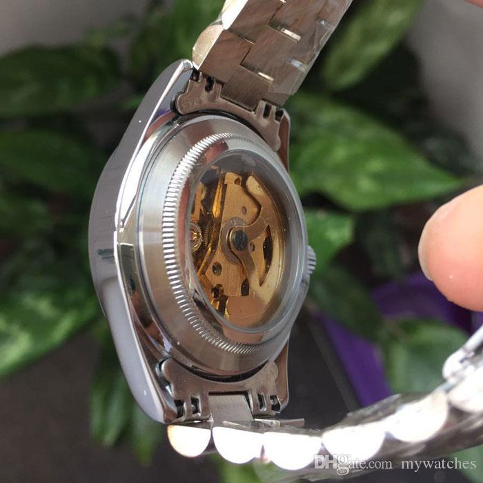 Unisex Bay Bayan Saatler moda İş İzle Full Paslanmaz Çelik bant İskelet Mekanik Otomatik Kol İçin Erkekler Bayanlar Dial