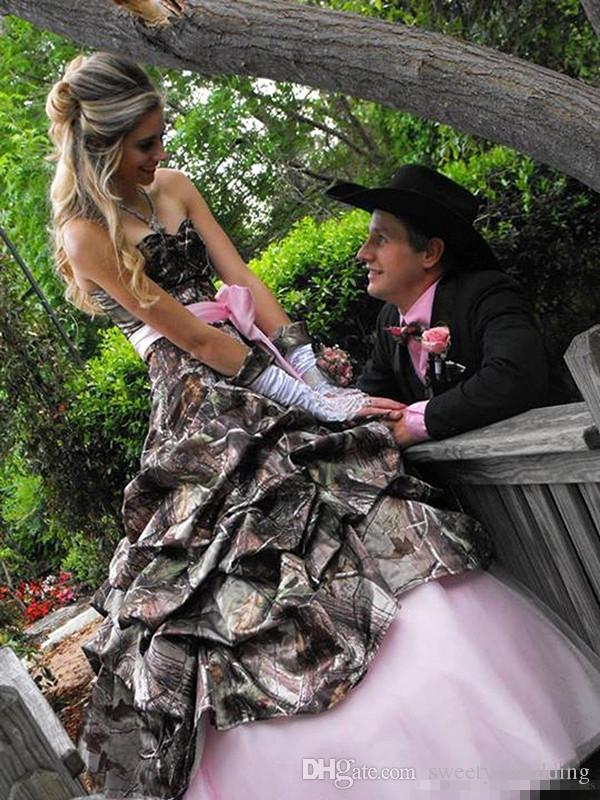 Elegant Pink And Camo Country Cowboy Hippie Wedding Dresses 2017 Strapless Pleats Bow Sash Plus Size Summer Bohemian Beach Bridl Gowns Cheap