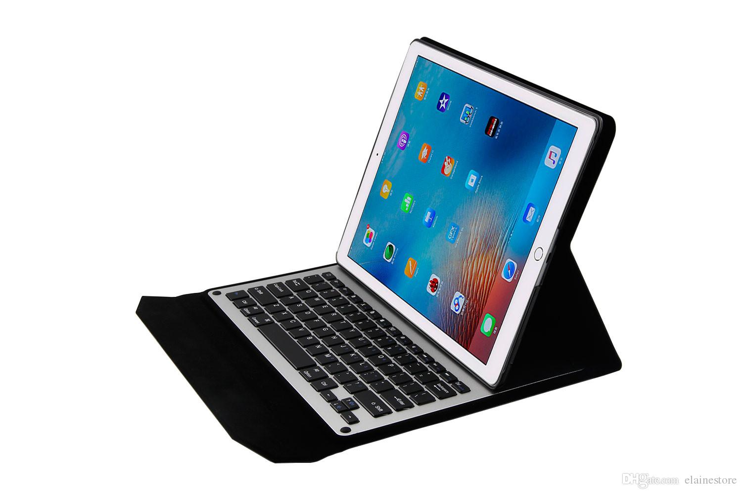 check out 13a33 9238c Hot 2017 New For ipad pro 12.9 inch Ultra-Slim Aluminum Bluetooth Keyboard  PU Leather plastic stand Case Cover for iPad Pro 12.9