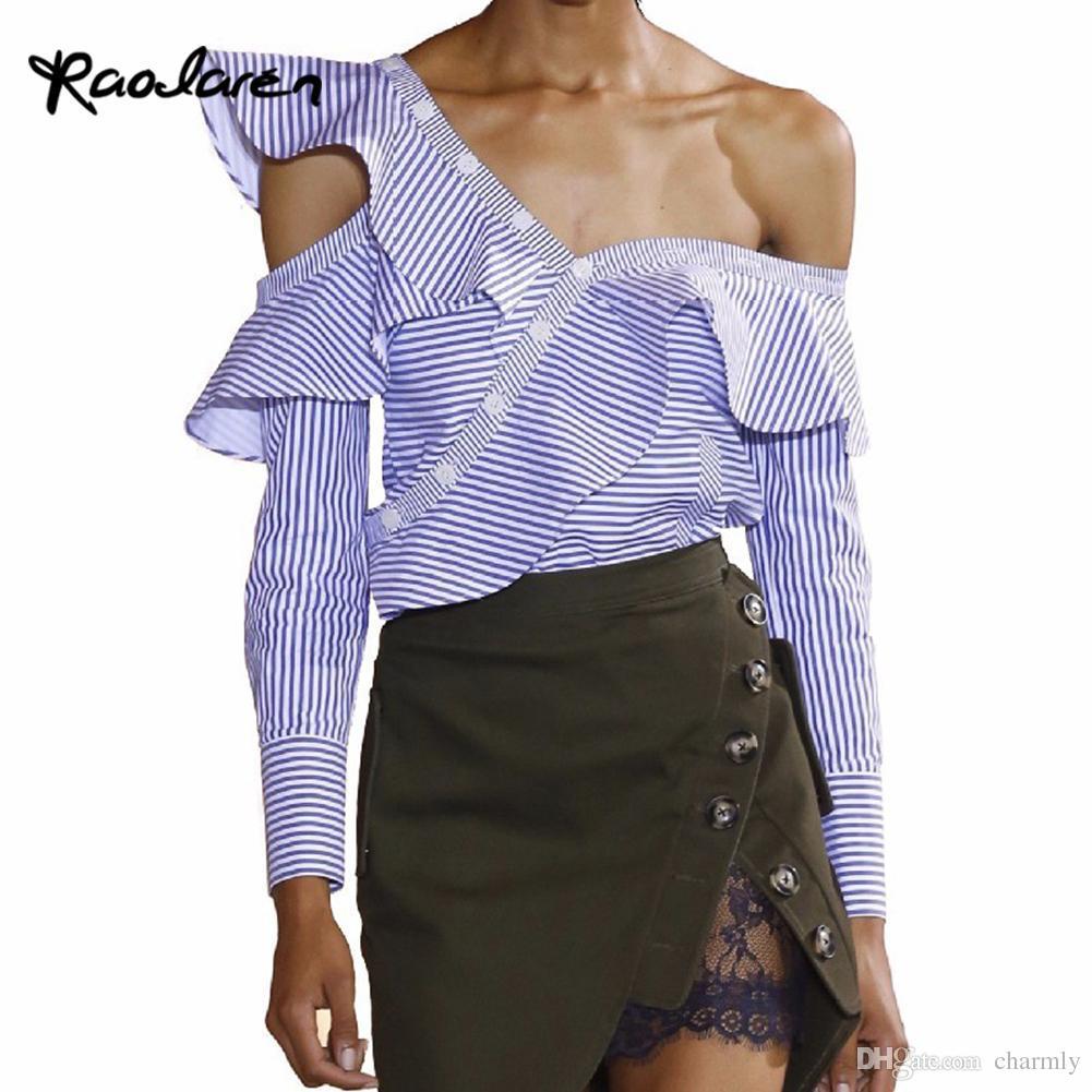 71acbfdde6a5 Raodaren One Shoulder Off Ruffles Blouse Shirt Women Tops 2017 ...