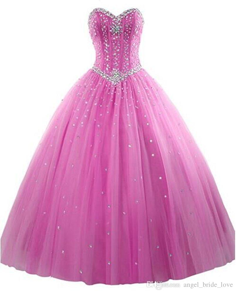 2017 New Elegant Ball Gown Tulle Quinceanera Dresses With Beads Sweet 16 Dresses 15 Year Prom Party Gowns WD1015