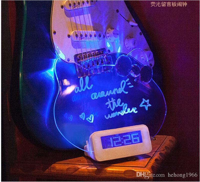 Relógios de mesa DIODO EMISSOR de Luz Digital Luminosa Placa Fluorescente Mão Escrita Message Board Despertadores USB Eletrônico Originalidade 30lz A R