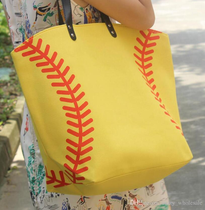 2017 Softball yellow baseball white stitching bags baseball women Cotton Canvas Sports Bags Baseball Softball Tote Bag