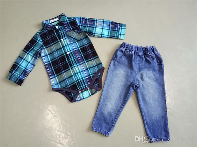 Children clothing sets Long Sleeve Onesie With Jeans Boys Outfits kids grid romper+jeans pant set
